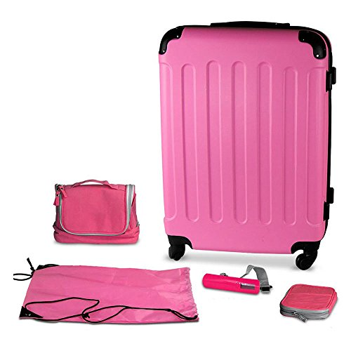 Pink Suitcase - Pink 24 Inch Hard Shell Suitcase With Spinner Wheels and Accessories