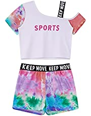 renvena Girl Tie Dye Casual Athletic Outfits Irregular Shoulder T-Shirt with Shorts Dance Gym Home Clothes