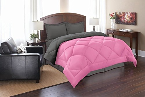 Super Soft Goose Down 3pc REVERSIBLE Alternative Comforter, QUEEN, Pink/Gray (Queen Sets Pink Black And Bedding)