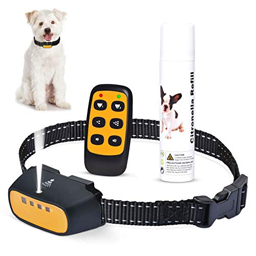 Trainertec Dog Bark Collar, No Shock Citronella Spray Anti-Bark Collars Rechargeable Stop Barking Device for Small Medium Large Dogs (with Remote&Spray)