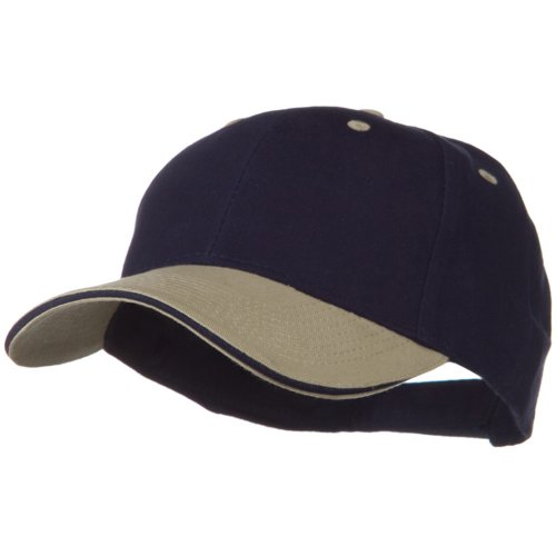 - 2 Tone Brushed Twill Sandwich Cap - Khaki Navy OSFM