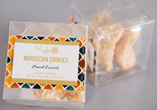 2 boxes of Gluten Free & Dairy Free & Vegan Moroccan Cookies (Almond Crescents) - Kosher OU - Dairy Free - All Handmade - All Natural and No Preservatives - ()