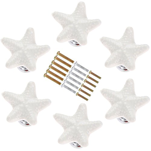 Corasays Starfish Shape Drawer Cupboard Pulls Handles Wardrobe Drawer Cabinet Door Kitchen Knobs and Handles, Pack of 6 (White)