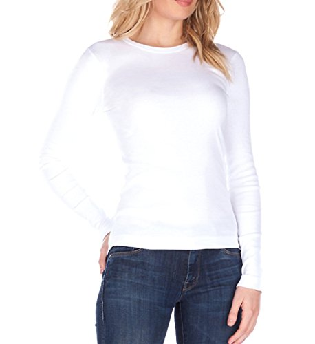 (Three Dots Women's Long Sleeve Crewneck Tee,White,Large )