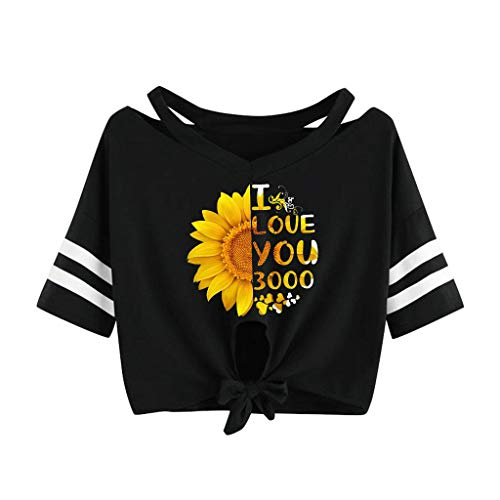 SADUORHAPPY Women Love You 3000 Times Printing Straps Short-Sleeved Fashion Camis T-Shirt Tops ()