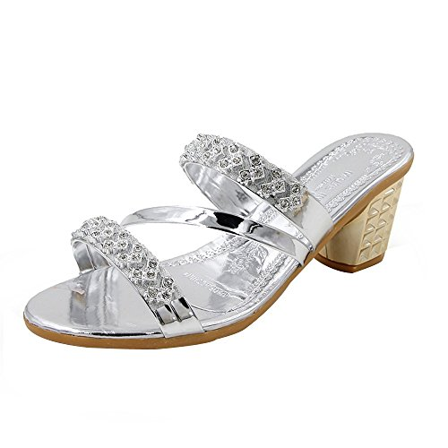QBQCBB Women Solid Crystal Round Toe Leisure Sandals Slipper High Heeled Shoes(Silver,39)