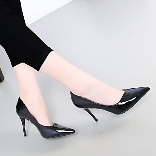 Mouth KPHY With Heeled Tip A Simple Of And Female Shallow 8 High Shoes Set 8Cm Single Painted Black Black Fine Versatile Spring Leather Scripts rwrUE0xv