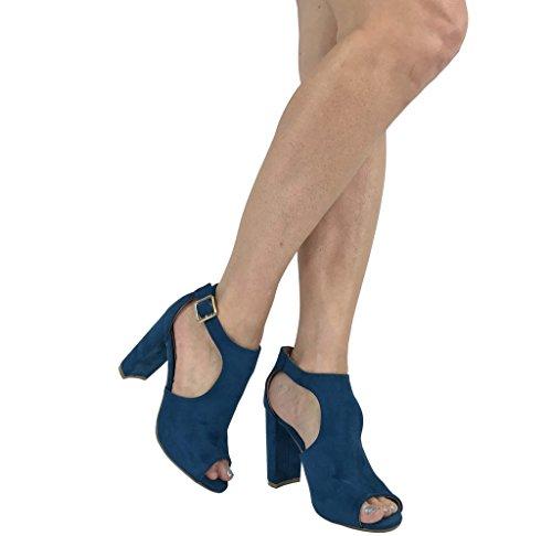 Bella Mode Les Femmes Bout Ouvert Cheville Sangle Chausson Sandale Ouverte Côté Découpé Milieu Bloc Talon Sarcelle