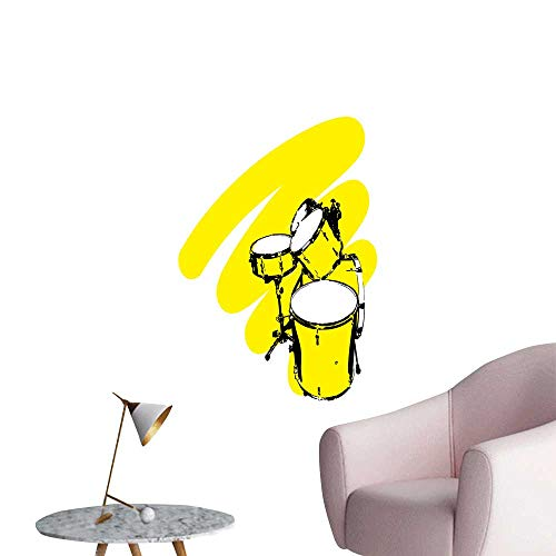 SeptSonne Wall Decals Drums on a Yellow backgroun Environmental Protection Vinyl,12