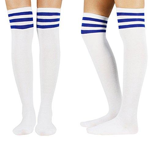 0fc177cfd36 Zando Women Thin Over The Knee Stockings Long Thigh High Socks Striped Tube  Cosplay Socks 3