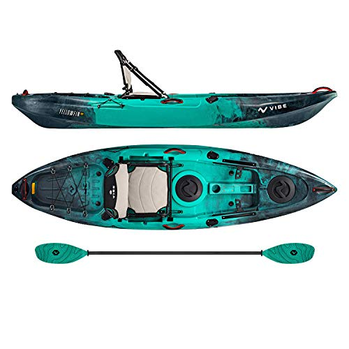 Vibe Kayaks Yellowfin 100 10 Foot Angler Recreational Sit On Top Light Weight Fishing Kayak (Caribbean Blue) with Paddle and Adjustable Hero Comfort Seat - Caribbean Blue Evolve ()