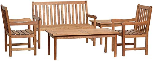 Amazonia Milano 5-Piece Outdoor Seating Dining Set | Eucalyptus Wood | Ideal...