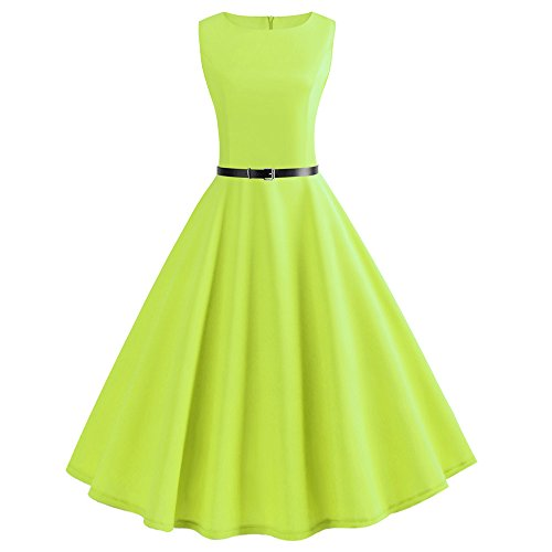 WOCACHI Womens Vintage Dresses Sleeveless O Neck Evening Gown Party Prom Swing Dress 2019 Solid Pure Color Sashes Belt Spring Sale Final Clear Out Skirt Mini Maxi Knee Length Slim A Line