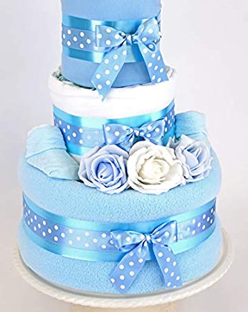 PureNappyCakes Luxury Deep Filled New Baby Shower Nappy Cake Blue, 2 Tiers