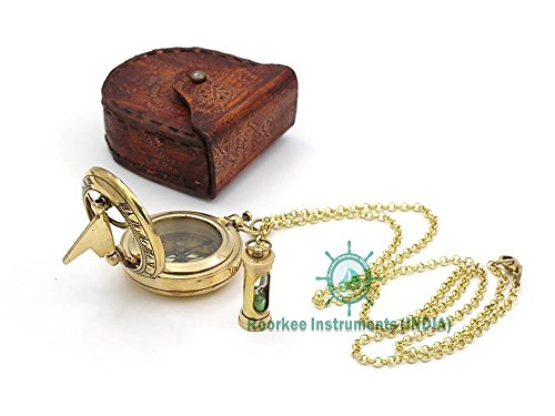 Necklace Sundial Compass with Mini Hour glass W/ case - Mini Sundial