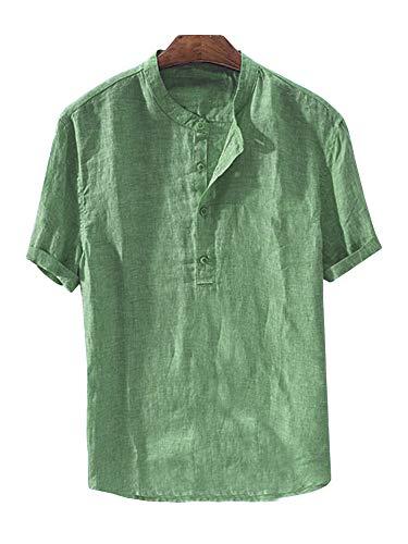 Enjoybuy Mens Henley Linen Shirts Short Sleeve Banded Collar Hidden Buttons Plain Summer T-Shirt Top (XX-Large, 03-Green)
