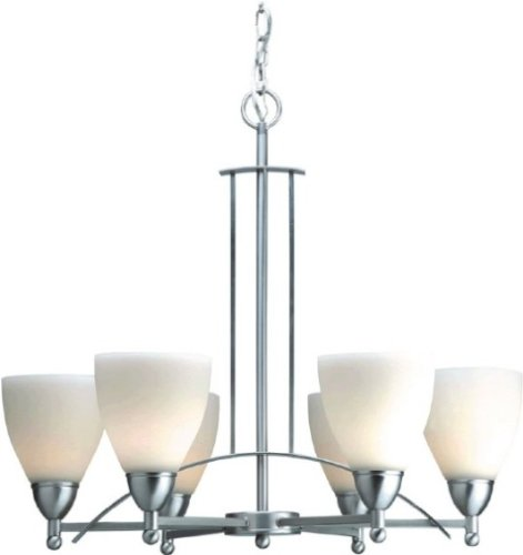 Forte Lighting 2231-06-55 6-Light Transitional Chandelier, Brushed Nickel Finish with Satin Opal Glass Shades