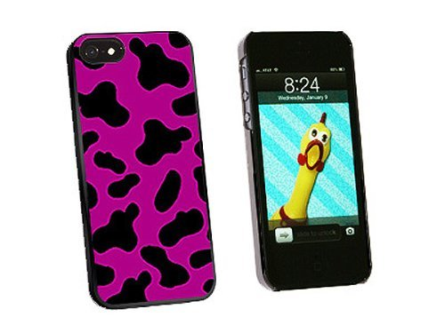 Graphics and More Cow Print Fuchsia Snap-On Hard Protective Case for iPhone 5/5s - Non-Retail Packaging - Black