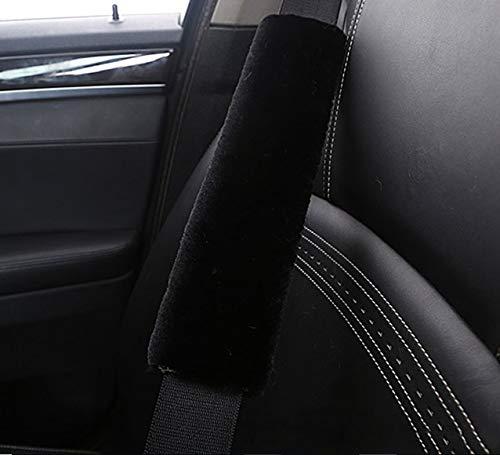TRUE LINE Automotive 2 Piece Seat Belt Strap Faux Sheepskin Soft Cover Comfortable Soft Shoulder Cushion (Black) ()