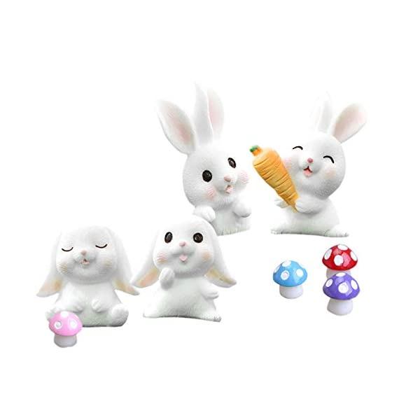 8 pcs easter mini bunny mushroom figures for kids animal toys set easter cake toppers rabbit fairy garden miniature figurines collection playset for christmas easter party decorations
