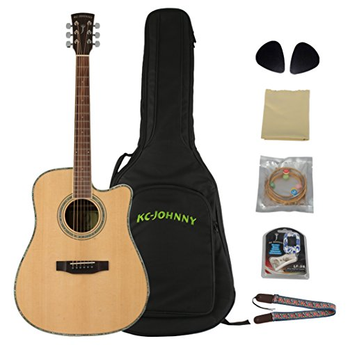 KC-JOHNNY Acoustic Guitar 41 Inches KC-DR-4110C Solid Spruce Top Green Pearl Binding D'Addario String Package kit: Extra Standard String set, Cloth, Tuner, Picks, Guitar Strap, 10mm Guitar Bag Natural