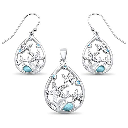 (Natural Larimar Cubic Zirconia Starfish Pear Shape Earrings Pendant Set Sterling Silver)