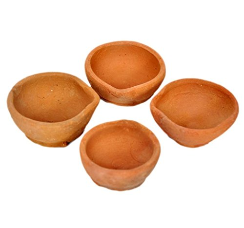 Earthen Clay - Hashcart Handmade Indian Traditional Pooja Earthen Clay/Terracotta Oil Lamp - Diya Lamp (Set of 51)