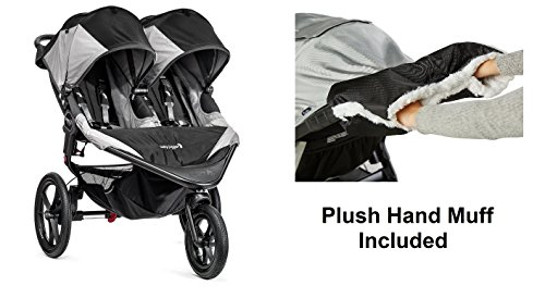 Baby Jogger 2016 Summit X3 Double – Black/Gray with Plush Hand Muff