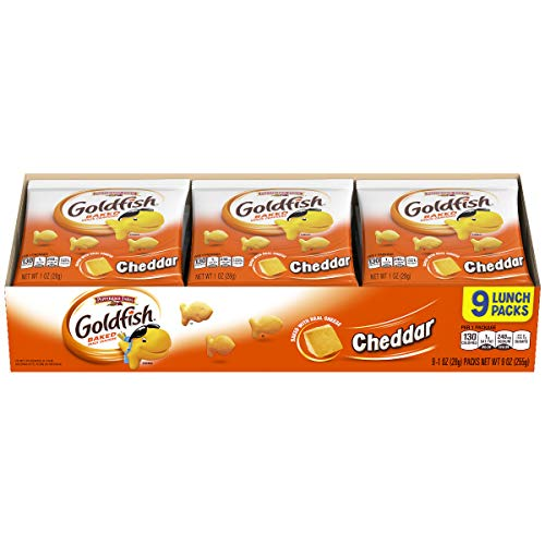 Pepperidge Farm Goldfish Cheddar Crackers, Single-Serve Snack Packs, 1 Ounce, Pack of 9