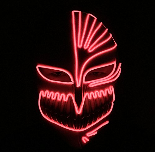 Death Mask Halloween EL Mask Masquerades Mask Light Up Led Mask, One Size (Red) (Easy Halloween Costumes For Guys)