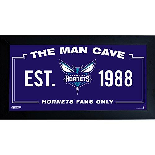 NBA Charlotte Bobcats Charlotte Hornets Man Cave Sign 6 x 12 Framed ()