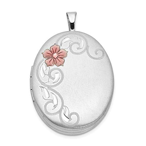 Jewelry Stores Network Sterling Silver Enameled Flower and Scroll Oval Locket 31x20mm (Sterling Enameled Scroll Silver)