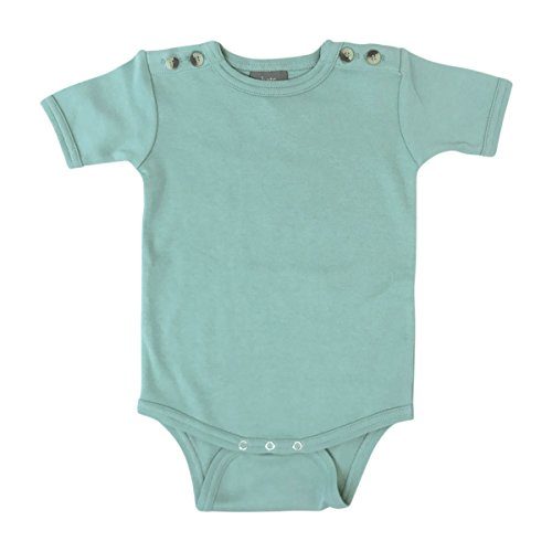 Kate Quinn Organics Unisex-Baby Short Sleeve Button Bodysuit, 18-24M (Jadeite Apparel)