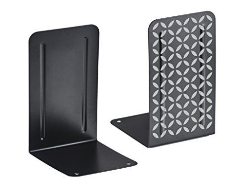 Acrimet Metal Bookends Design Series (Heavy Duty) (Black Bookend with Silver Design) (1 Pair Pack)