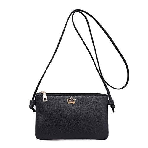 Fashion Women Bags Bafaretk Shoulder Bag Crossbody Coin Solid Leather BLACK Messenger Bags Crown Odxqx