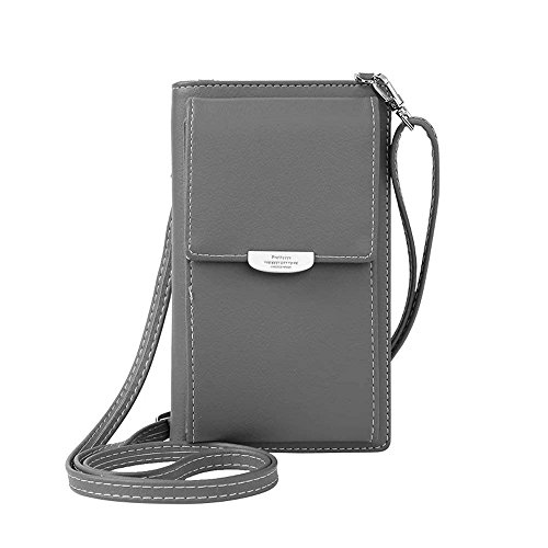 NYKKOLA Womens Wallet Bag Leather Coin Cell Phone Purse Handbag Mini Cross-body Shoulder Bag with Strap Classic Grey