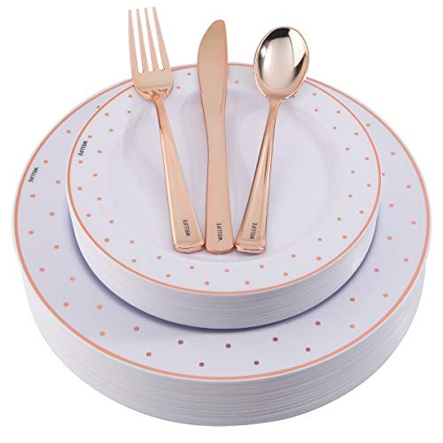 125 Pieces Rose Gold Disposable Plates and Plastic Silverware, includes: 25 Dinner Plates 10.25 inch, 25 Salad Plates 7.5 inch, 25 Knives, 25 Forks, 25 Spoons (Dinnerware Gold Dot)