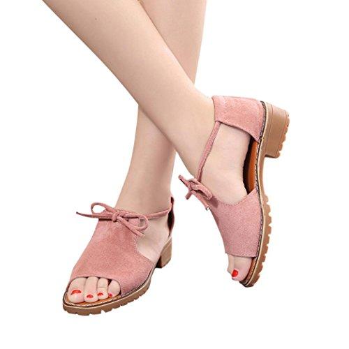 Women's Ladies Lace Up Wedge Espadrilles Summer Chunky Holiday Platform Wedges Sandals Shoes Ankle Strap Peep Toe Suede Shoes Heeled Shoes Block Heel Pump Dress Sandals Duseedik (Pink, US:5(CN:35))