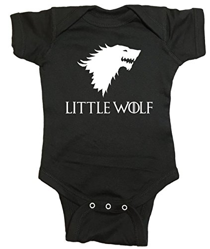 "Game Of Thrones Baby One Piece ""Little Wolf"" Bodysuit (24 Month, Black)"