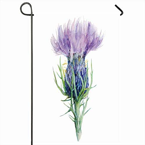 Ahawoso Outdoor Garden Flag 28x40 Inches Watercolor Purple Scottish Milk Thistle Flower Medicinal Painting Nature Liver Scotland Drawing Ink Garden Health Seasonal Home Decorative House Yard Sign