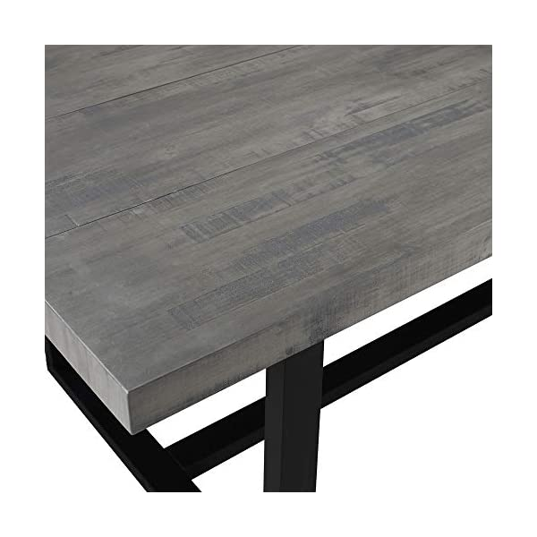 Walker Edison Andre Modern Solid Wood Dining Table, 72 Inch, Grey