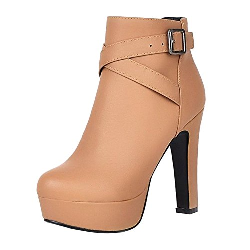 Size Large and Platform Heel Short Brown for Women Fashion Boots High Ankle with Boots Thick Women Onewus xnYOw7pqgO