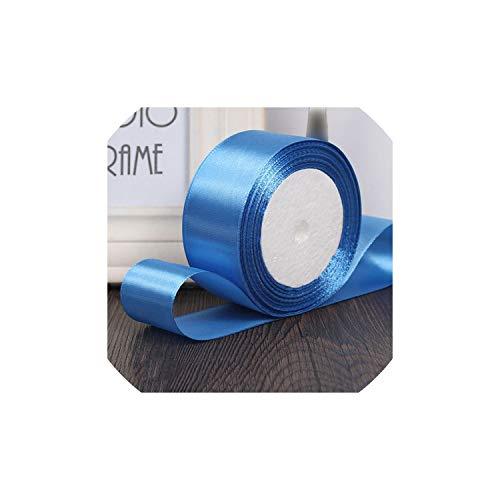 25yards / roll envoltura de materiales de artesania de 6 mm 10 mm 15 mm 20 mm 25 mm 40 mm 50 mm cintas de raso de seda artesanias hechas a mano de costura de la cinta de regalo, diamante azul, 20mm