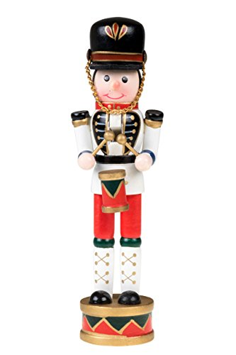 - Drummer Nutcracker | Traditional Christmas Decor | Drum and Drum Sticks | White, Blue, Red Drumming Outfit Uniform | Perfect for Any Collection | Perfect for Shelves and Tables | 100% Wood | 7