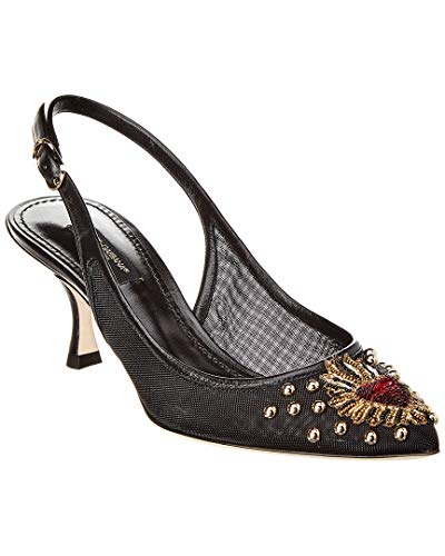 Dolce & Gabbana Women's Black Leather Fabric Slingbacks Shoes - Size: 6 US