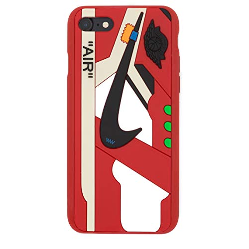 iPhone Shoe Case Chicago/White 1's Official 3D Print Textured Shock Absorbing Protective Sneaker Fashion Case (Red, iPhone 7+/8+)