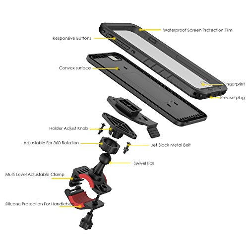 FindaGift para Funda Estuche con 7 soporte bicicleta iPhone negro de Black estanco 4 8 iPhone 7 manillar giratorio r7wgdr