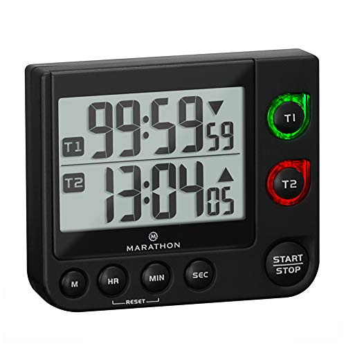 Marathon Dual Timer with Large Display, Countdown/Up, Blinking Alarm, Adjustable Sound, Magnetic Back and Stand (Double Timer Black)