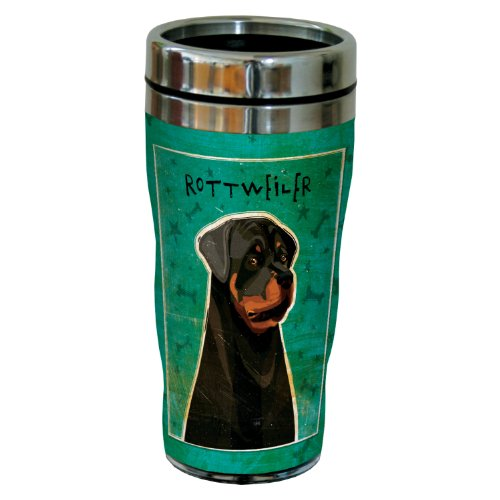 Tree-Free Greetings sg24007 Rottweiler by John W. Golden 16-Ounce Sip 'N Go Stainless Steel Lined Travel Tumbler by Tree-Free Greetings