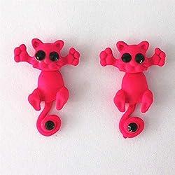 HCBYJ 1 par de múltiples Colores de Moda clásica Gatito joyería Animal Lindo Gato aretes para Mujeres niñas-9 9